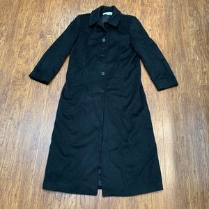 Black wool full length winter coat size 10